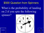 500 question from spinners