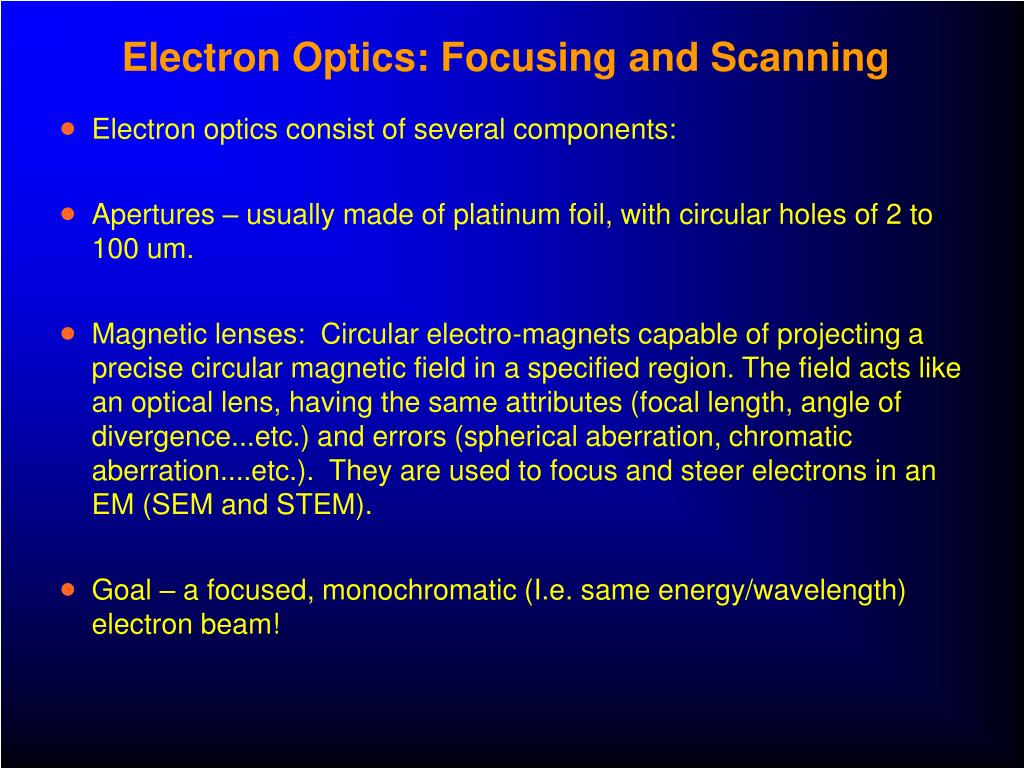 Electron Optics: Focusing and Scanning