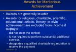 awards for meritorious achievement