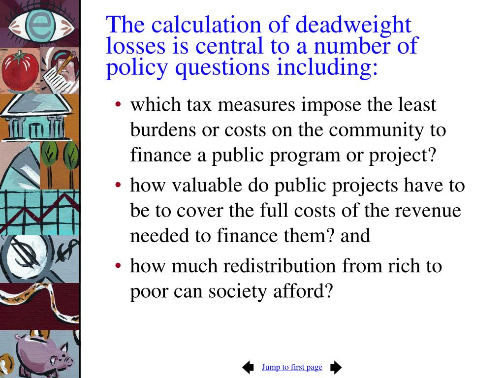 The calculation of deadweight losses is central to a number of policy questions including: