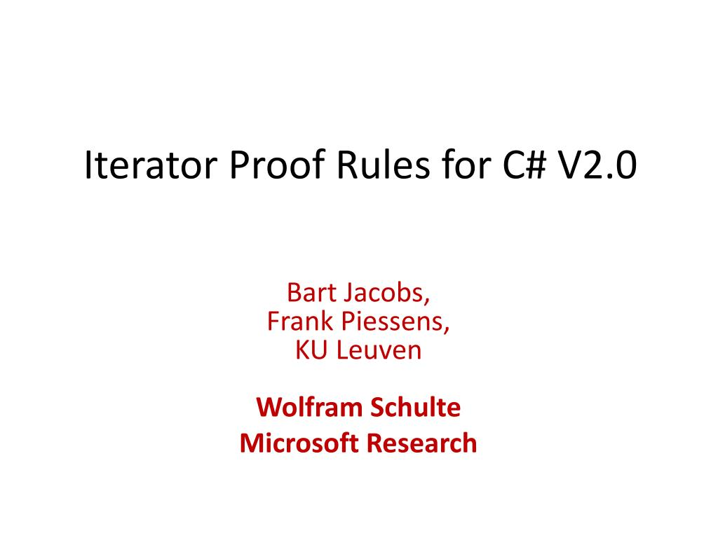 iterator proof rules for c v2 0 l.
