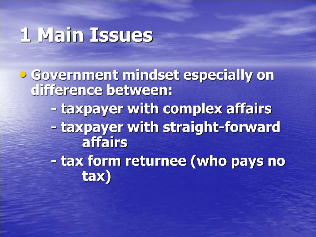 1 Main Issues