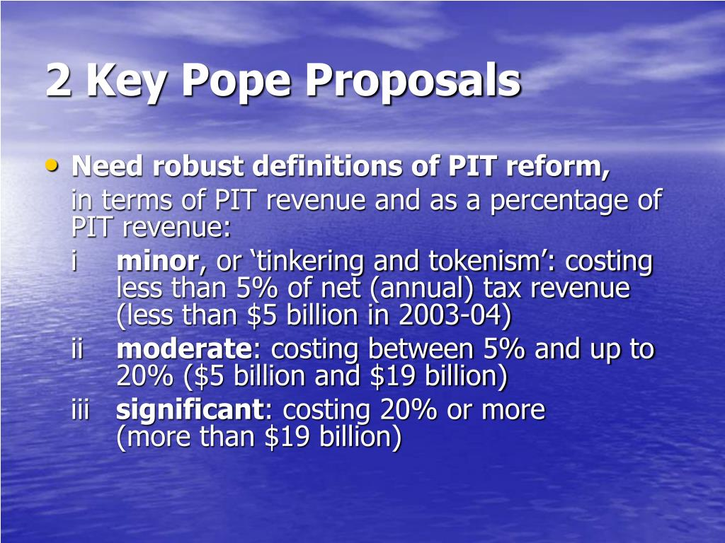 2 Key Pope Proposals