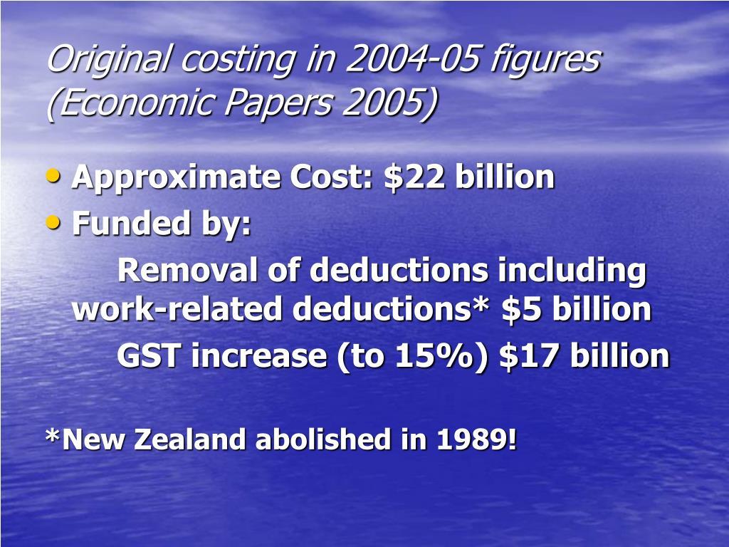 Original costing in 2004-05 figures