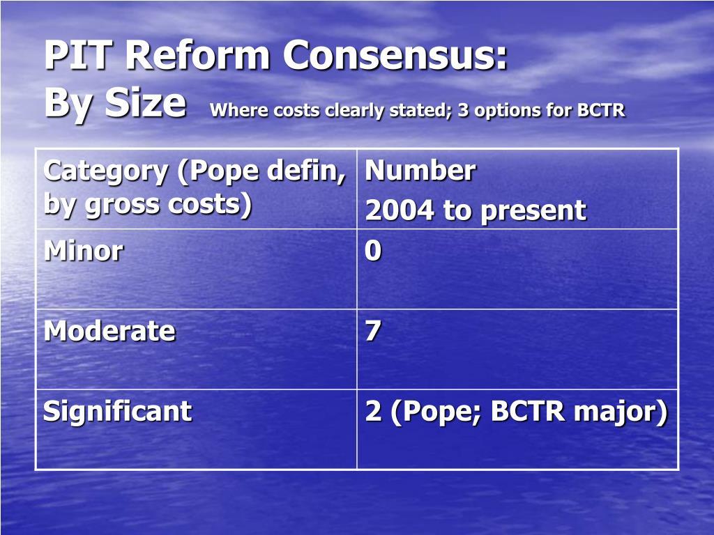 PIT Reform Consensus: