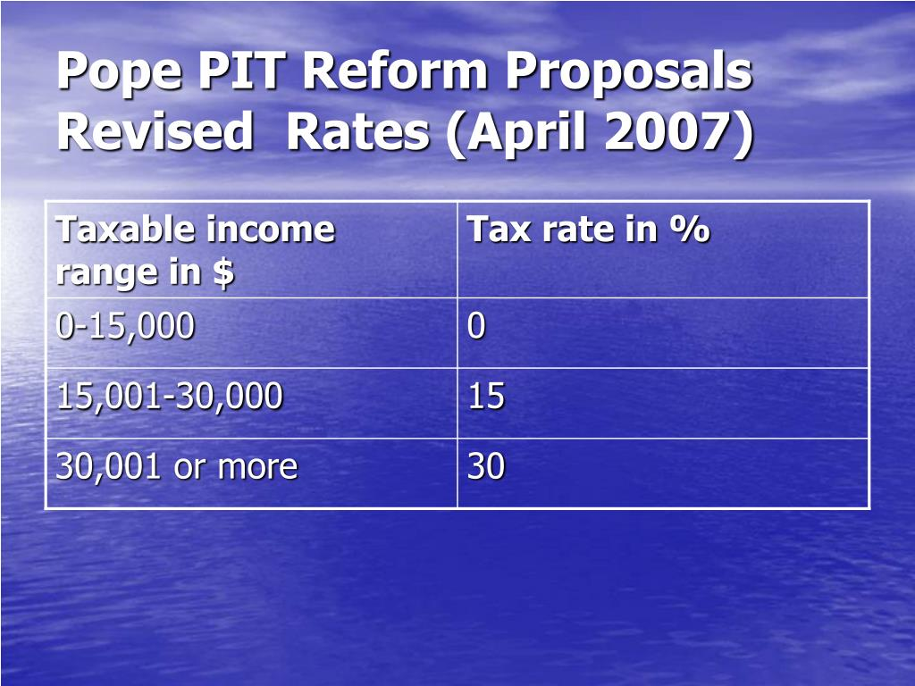 Pope PIT Reform Proposals