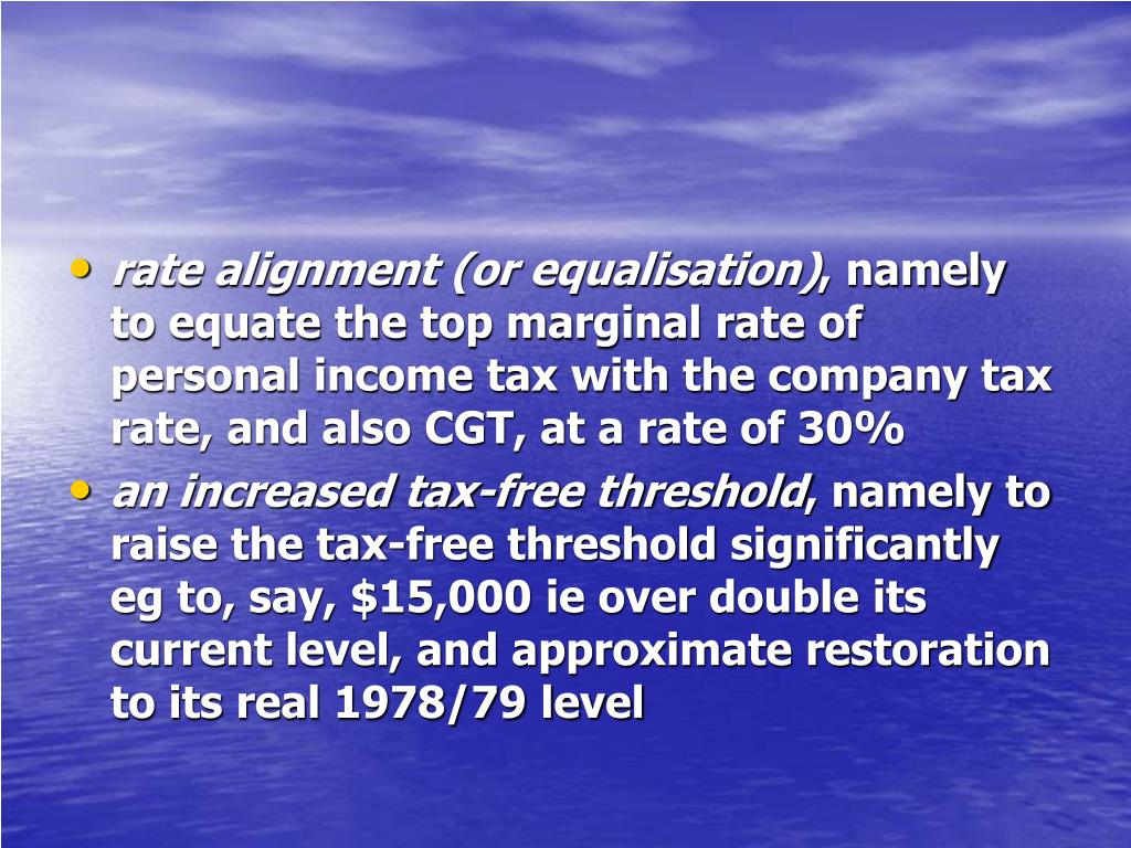 rate alignment (or equalisation)