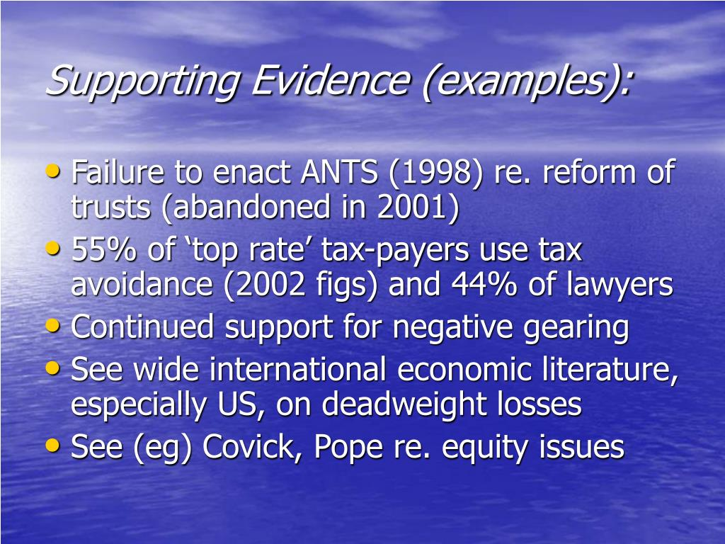Supporting Evidence (examples):