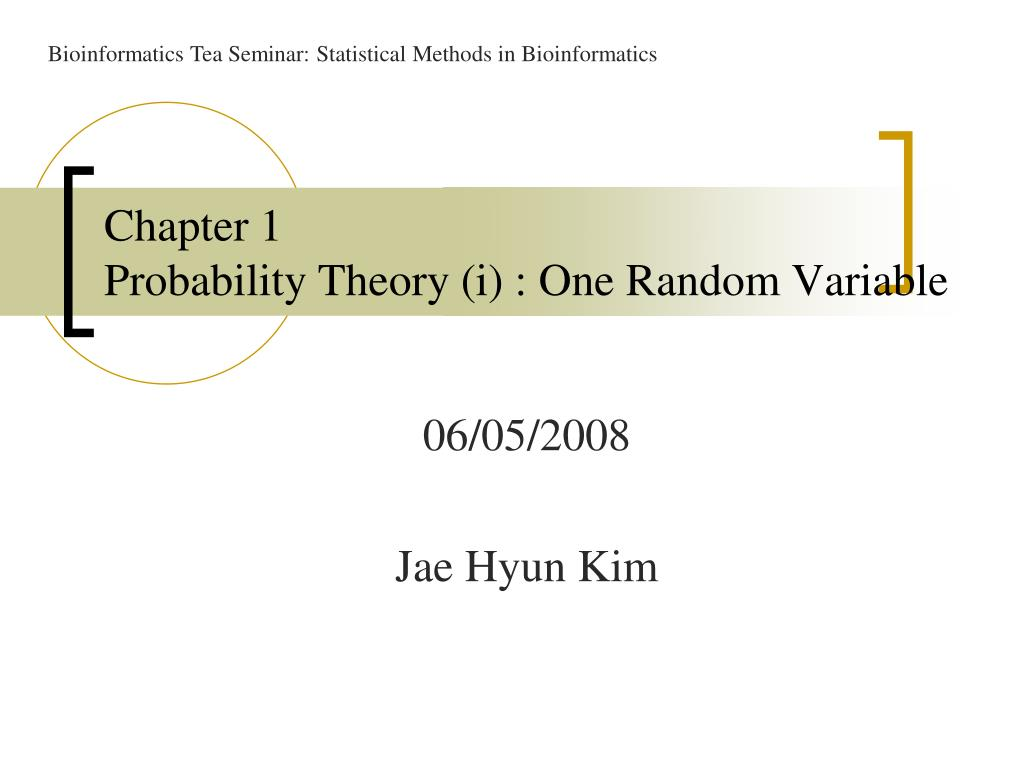 chapter 1 probability theory i one random variable l.