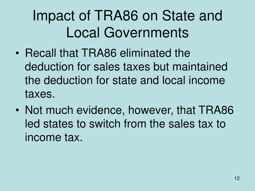 Impact of TRA86 on State and Local Governments