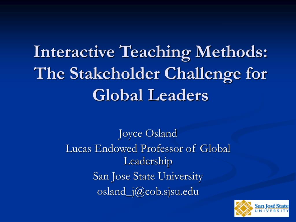 interactive teaching methods the stakeholder challenge for global leaders l.