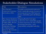 stakeholder dialogue simulations
