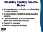 disability equality specific duties