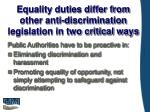 equality duties differ from other anti discrimination legislation in two critical ways