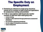 the specific duty on employment
