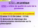 etg1 en pratique