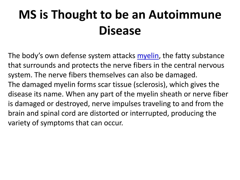 MS is Thought to be an Autoimmune Disease