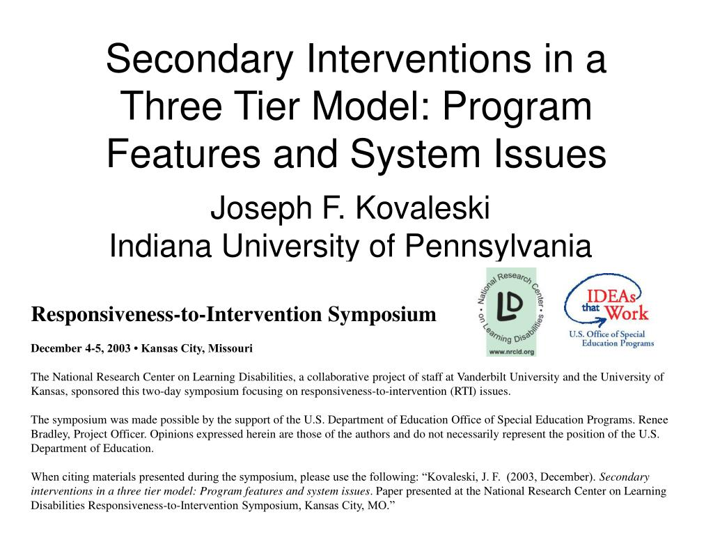 secondary interventions in a three tier model program features and system issues l.
