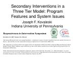 secondary interventions in a three tier model program features and system issues