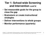 tier 1 school wide screening and intervention cont d