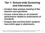 tier 1 school wide screening and intervention