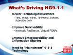 what s driving ng9 1 1