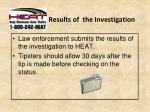 results of the investigation