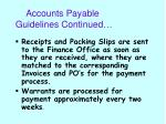accounts payable guidelines continued
