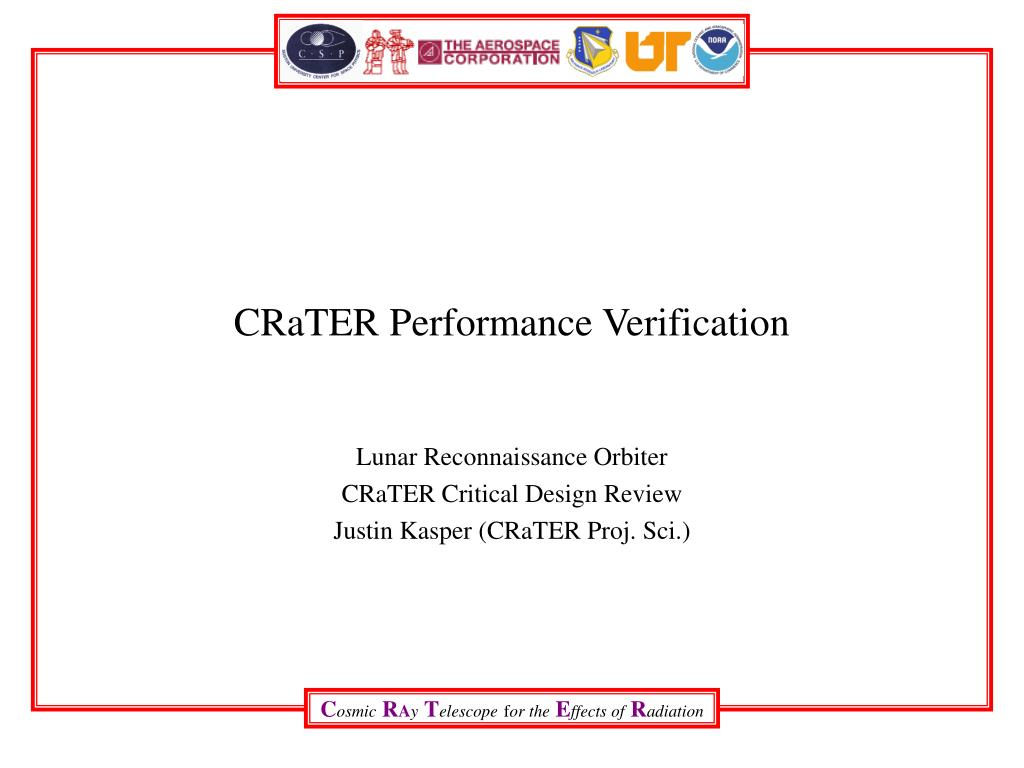crater performance verification l.