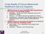 cross roads of future behavioral healthcare service capacity