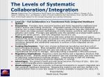 the levels of systematic collaboration integration32