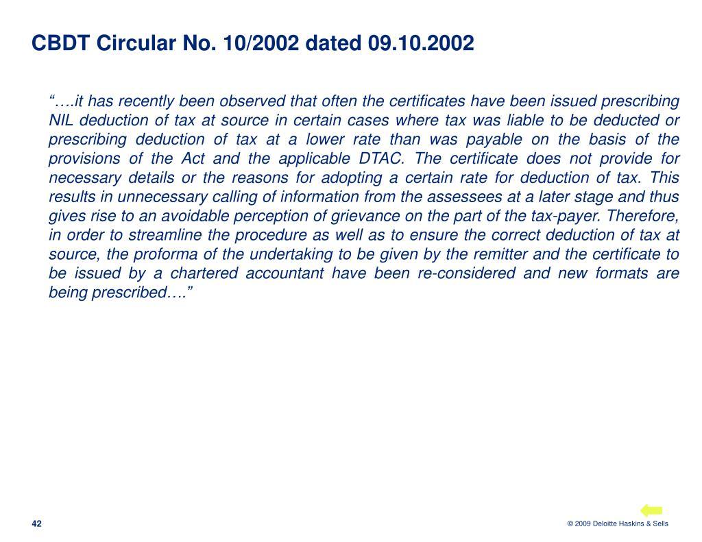 CBDT Circular No. 10/2002 dated 09.10.2002