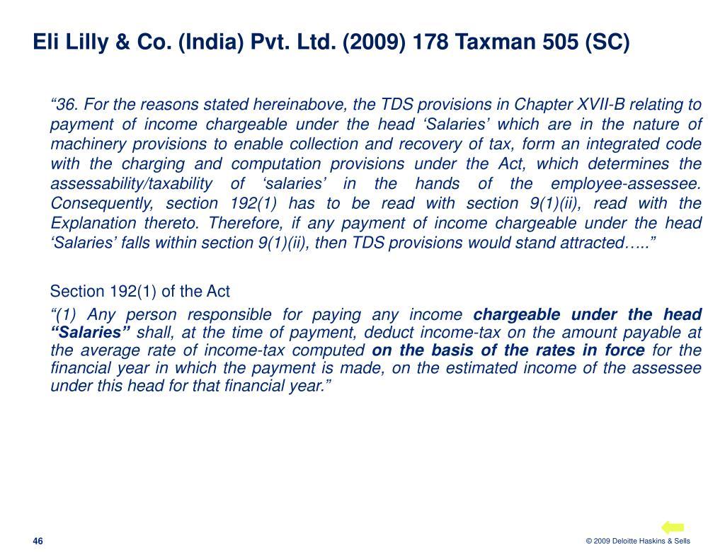 Eli Lilly & Co. (India) Pvt. Ltd. (2009) 178 Taxman 505 (SC)