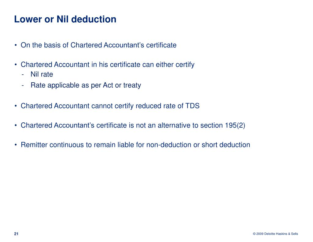 Lower or Nil deduction
