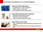 unlimited possibilities for limited budgets