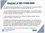abstract of iso 31000 2009 source iso website on iso 31000 16 june 2009