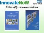 criteria 1 recommendations