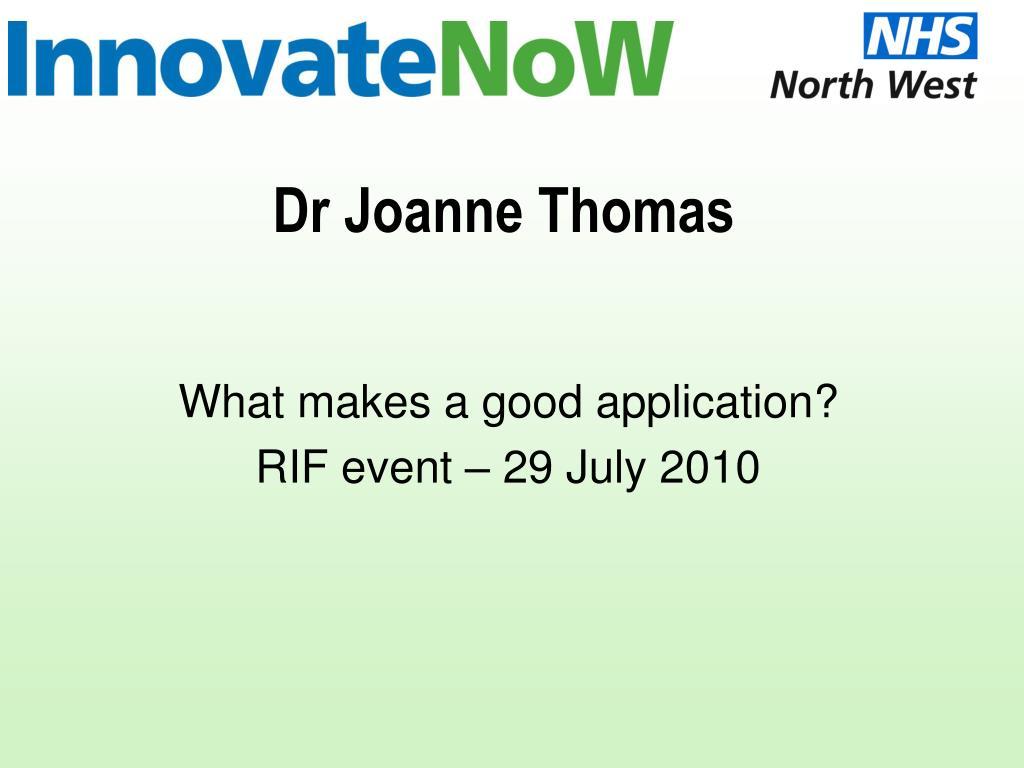 dr joanne thomas l.