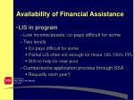 availability of financial assistance