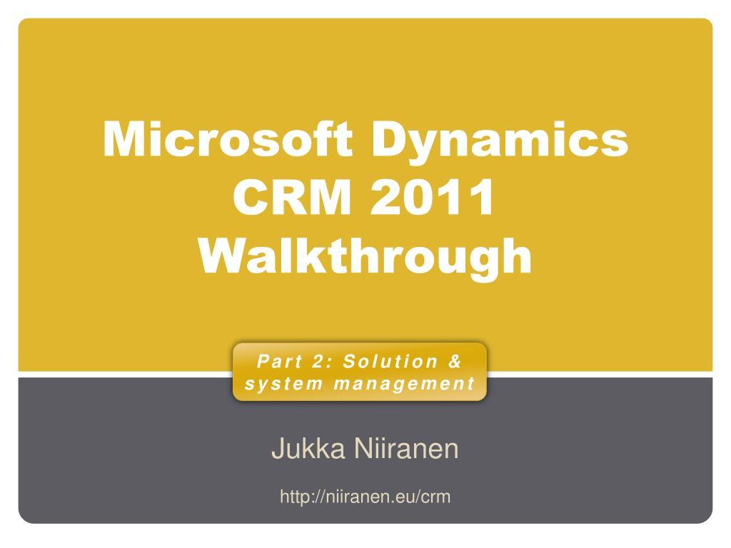 microsoft dynamics crm 2011 walkthrough l.