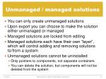 unmanaged managed solutions