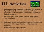 iii activities
