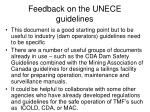 feedback on the unece guidelines