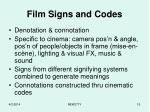 film signs and codes
