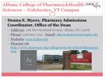 albany college of pharmacy health sciences colchester vt campus