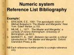 numeric system reference list bibliography