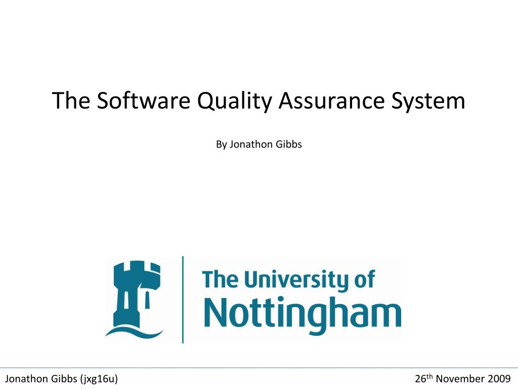 the software quality assurance system by jonathon gibbs l.