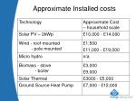 approximate installed costs