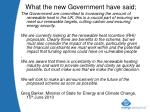 what the new government have said