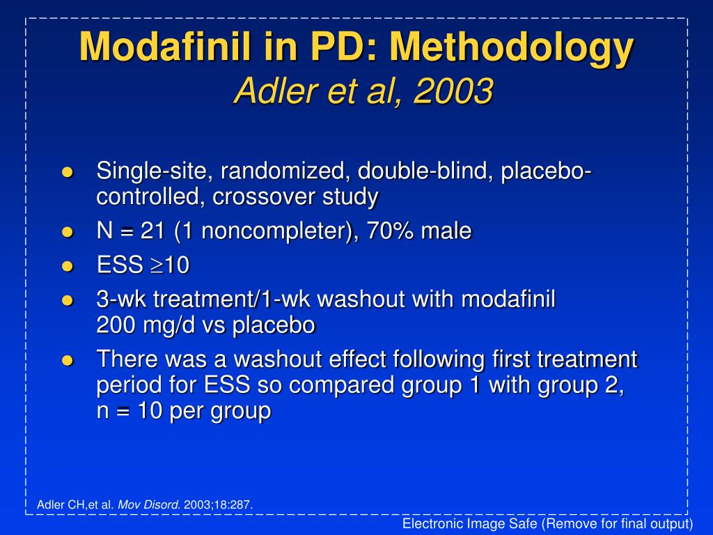Modafinil in PD: Methodology